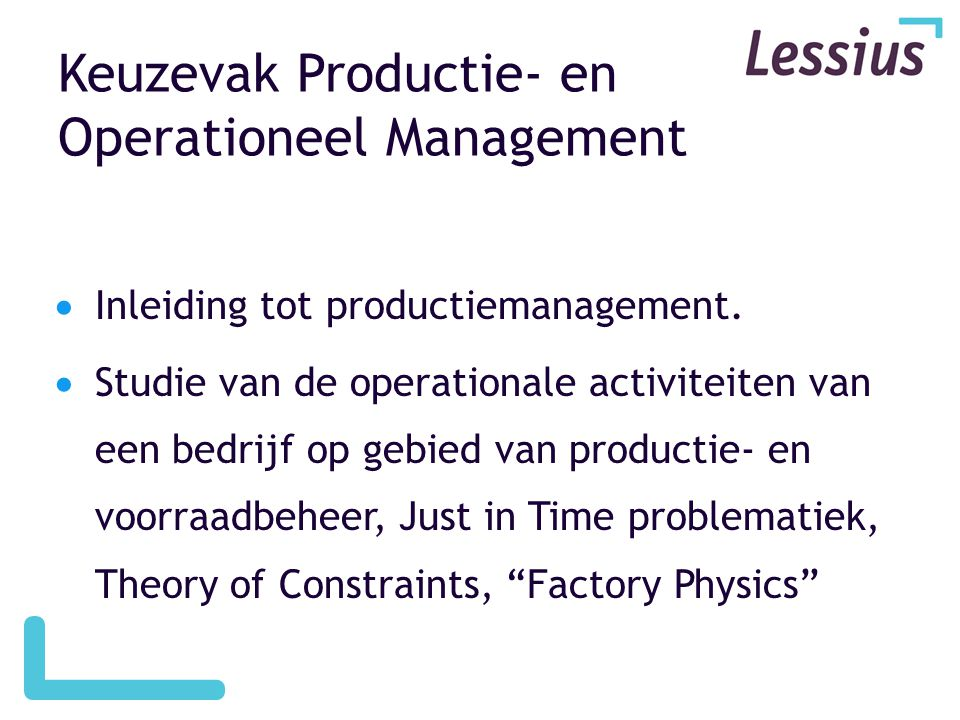 Keuzevak Productie- en Operationeel Management