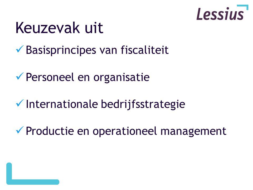 Keuzevak uit Basisprincipes van fiscaliteit Personeel en organisatie