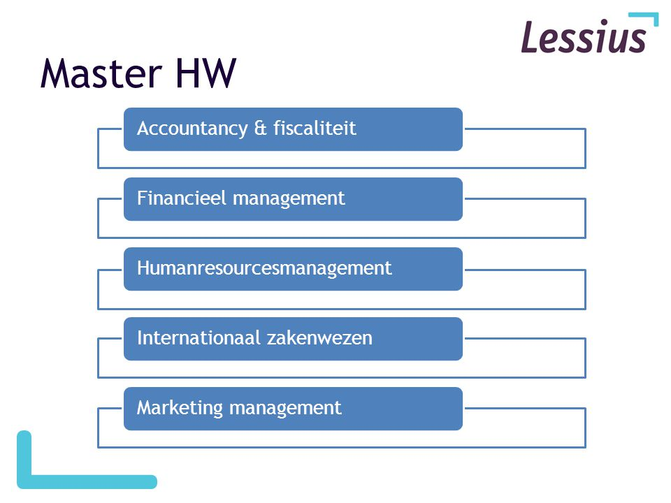 Master HW Accountancy & fiscaliteit Financieel management