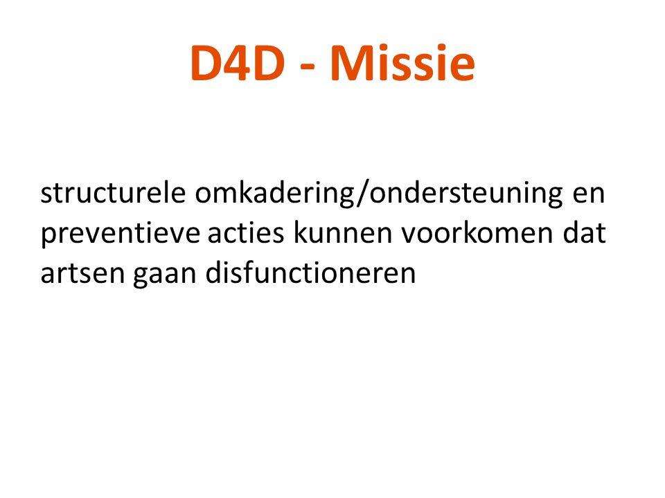 D4D - Missie structurele omkadering/ondersteuning en preventieve acties kunnen voorkomen dat artsen gaan disfunctioneren.