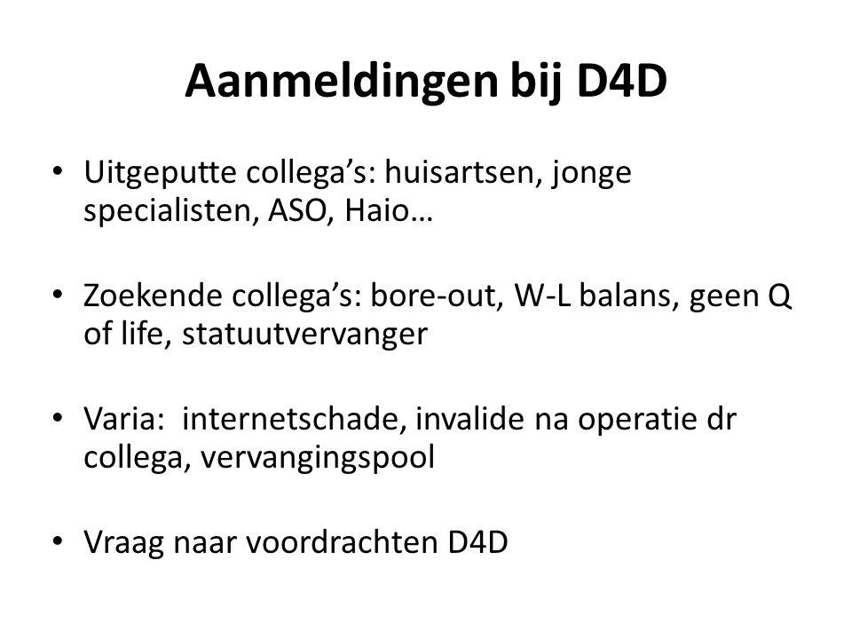 Aanmeldingen bij D4D Uitgeputte collega's: huisartsen, jonge specialisten, ASO, Haio…