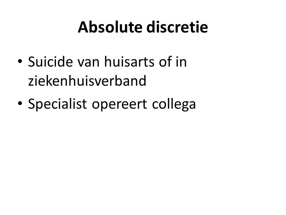 Absolute discretie Suicide van huisarts of in ziekenhuisverband