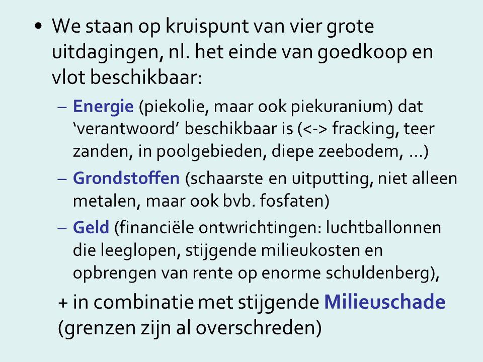 We staan op kruispunt van vier grote uitdagingen, nl