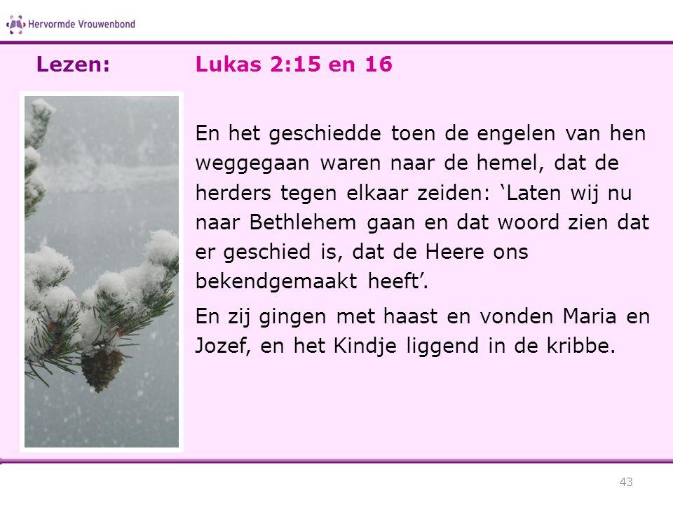 Lezen: Lukas 2:15 en 16.