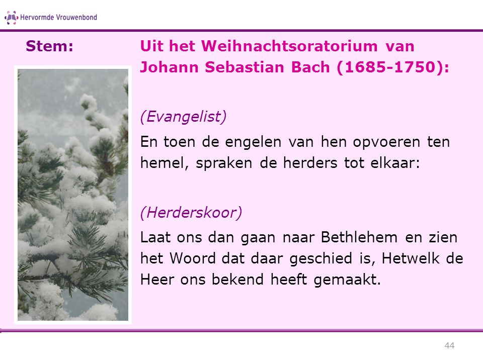 Stem: Uit het Weihnachtsoratorium van Johann Sebastian Bach (1685-1750): (Evangelist)