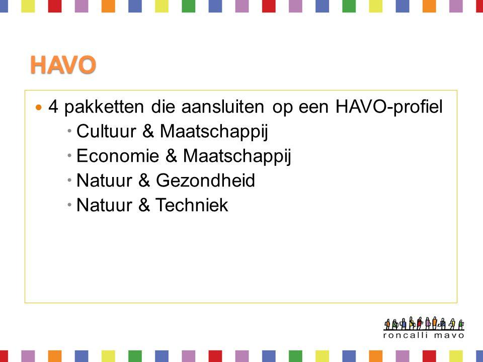 HAVO 4 pakketten die aansluiten op een HAVO-profiel