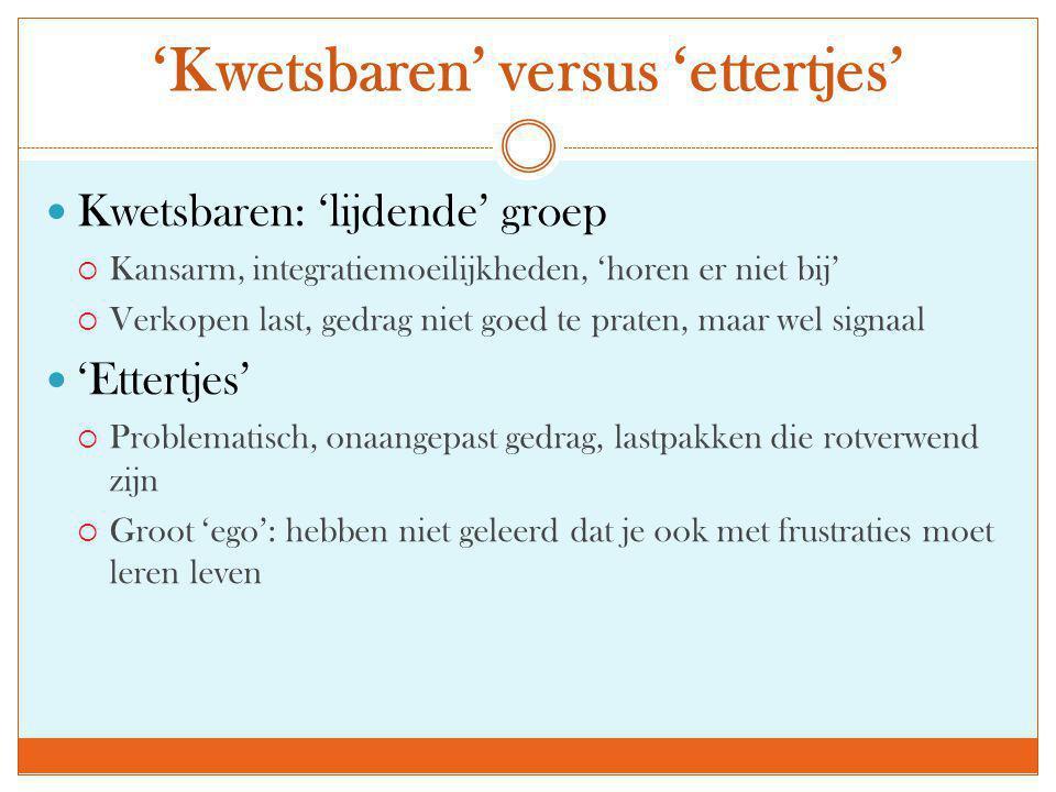 'Kwetsbaren' versus 'ettertjes'
