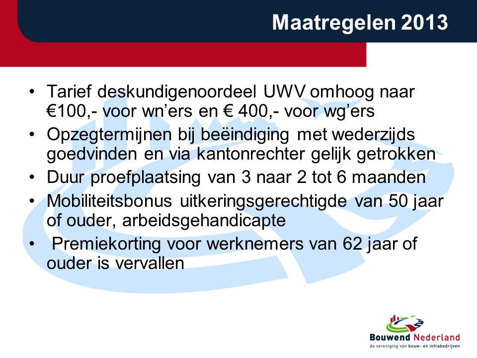 Maatregelen 2013 Tarief deskundigenoordeel UWV omhoog naar €100,- voor wn'ers en € 400,- voor wg'ers.