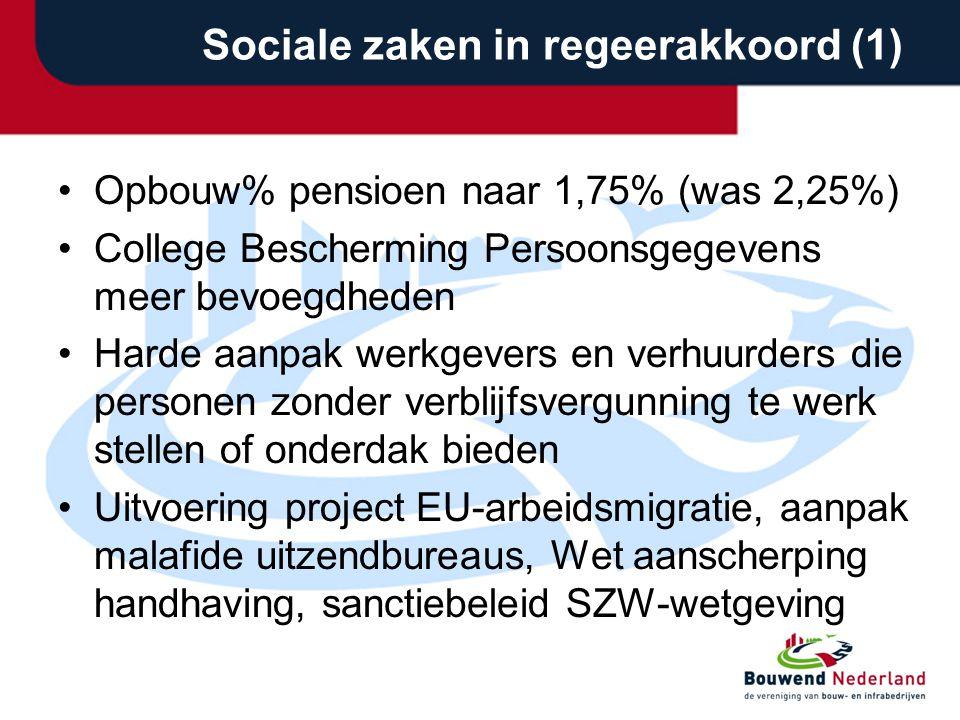 Sociale zaken in regeerakkoord (1)