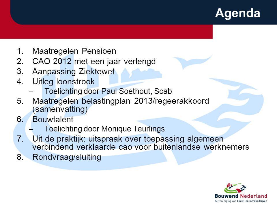 Agenda Maatregelen Pensioen CAO 2012 met een jaar verlengd