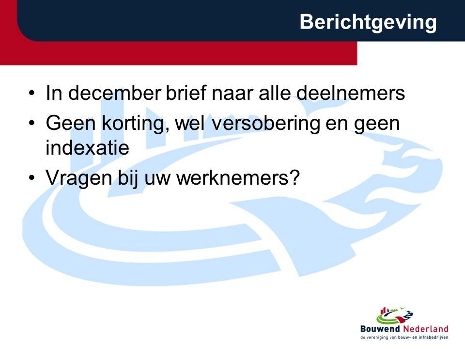Berichtgeving In december brief naar alle deelnemers. Geen korting, wel versobering en geen indexatie.