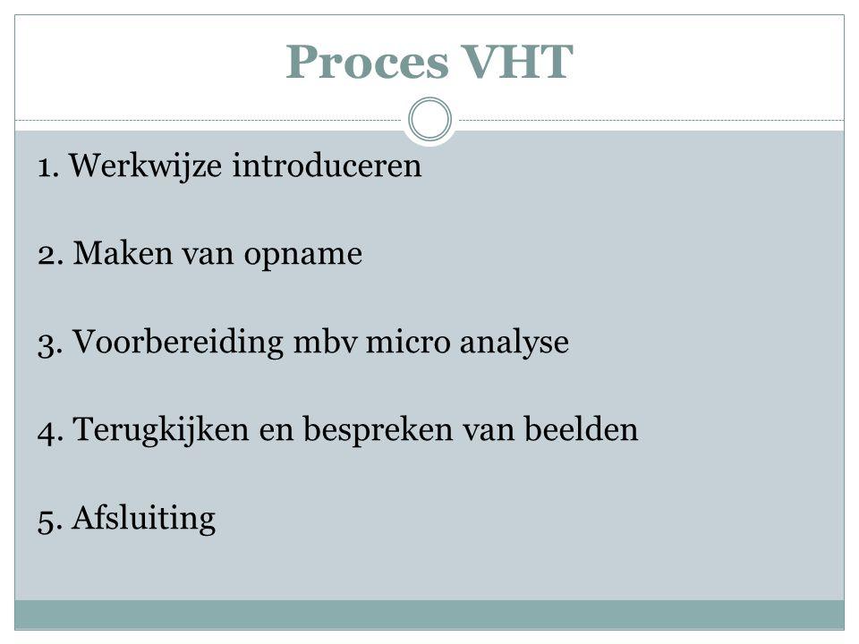 Proces VHT 1. Werkwijze introduceren 2. Maken van opname