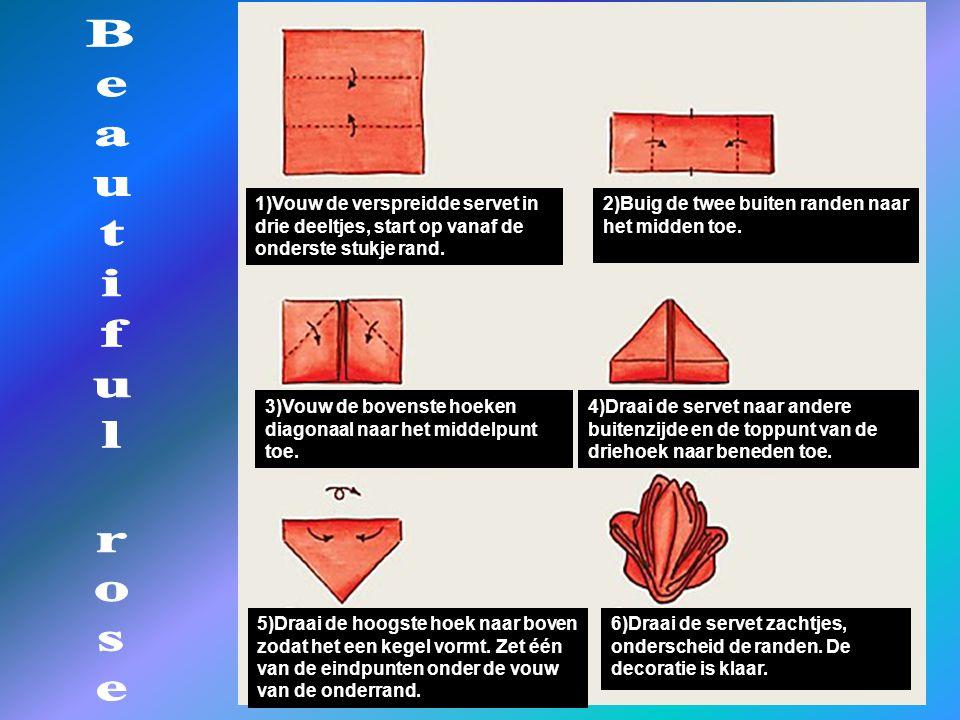 1)Vouw de verspreidde servet in drie deeltjes, start op vanaf de onderste stukje rand.