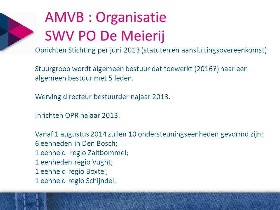 AMVB : Organisatie SWV PO De Meierij