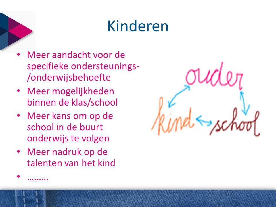 Kinderen Meer aandacht voor de specifieke ondersteunings-/onderwijsbehoefte. Meer mogelijkheden binnen de klas/school.