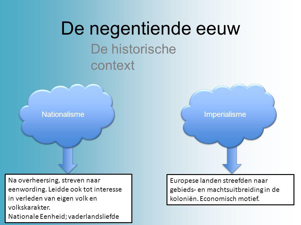 De negentiende eeuw De historische context Nationalisme Imperialisme