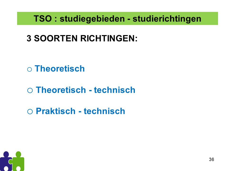 TSO : studiegebieden - studierichtingen