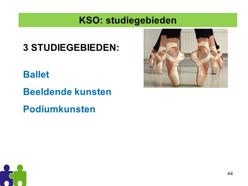 KSO: studiegebieden 3 STUDIEGEBIEDEN: Ballet Beeldende kunsten Podiumkunsten