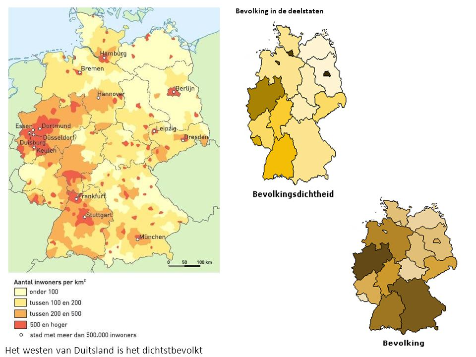 Het westen van Duitsland is het dichtstbevolkt