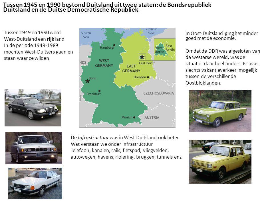 Tussen 1945 en 1990 bestond Duitsland uit twee staten: de Bondsrepubliek Duitsland en de Duitse Democratische Republiek.