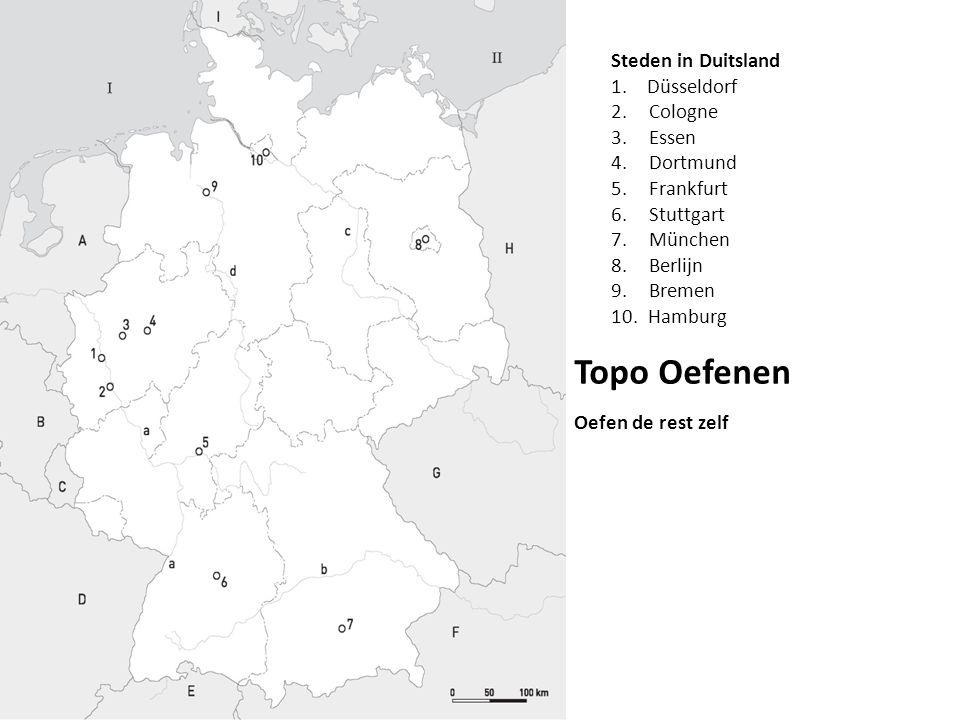 Topo Oefenen Steden in Duitsland Düsseldorf Cologne Essen Dortmund