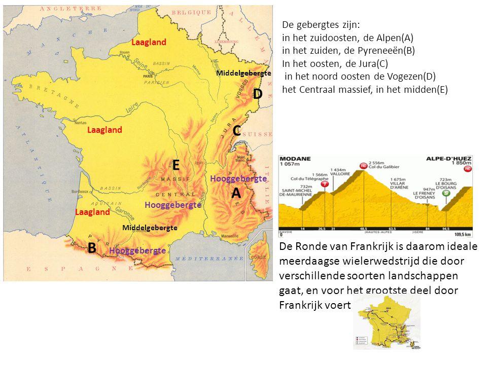 De gebergtes zijn: in het zuidoosten, de Alpen(A) in het zuiden, de Pyreneeën(B) In het oosten, de Jura(C)