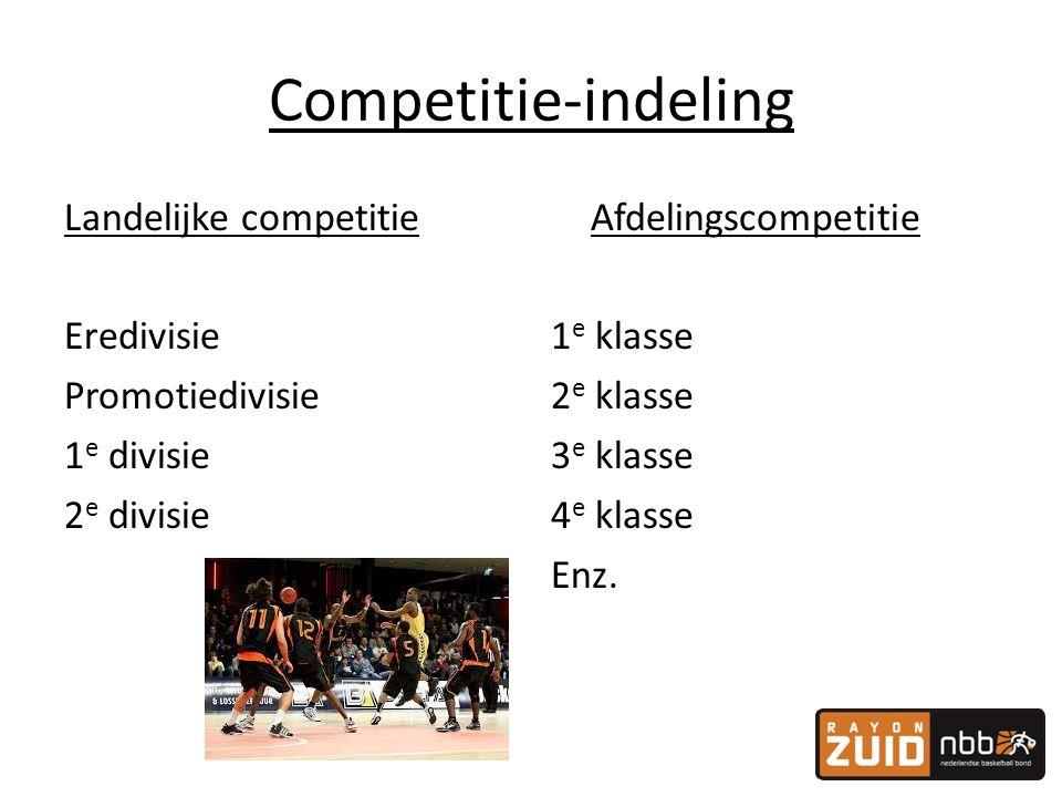 Competitie-indeling Landelijke competitie Eredivisie Promotiedivisie 1e divisie 2e divisie Afdelingscompetitie.