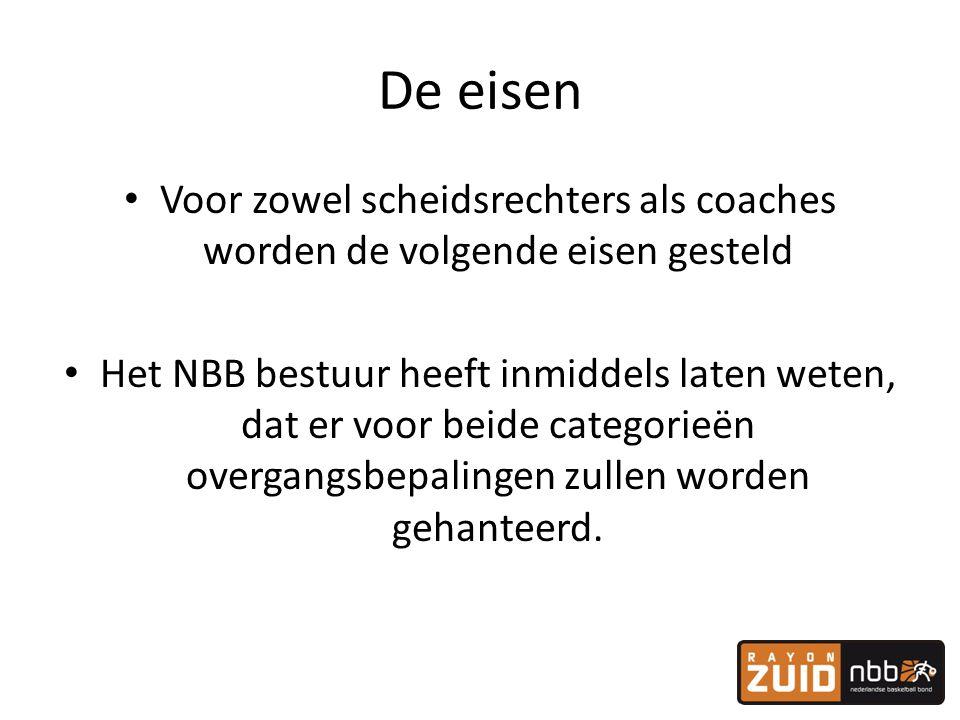 De eisen Voor zowel scheidsrechters als coaches worden de volgende eisen gesteld.