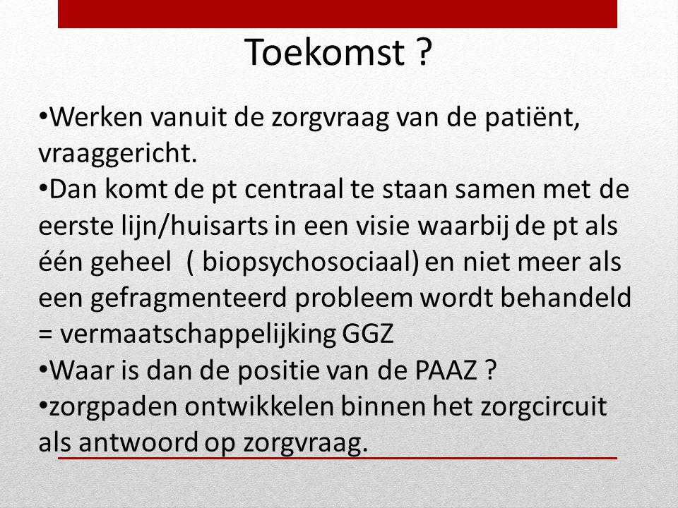 Toekomst Werken vanuit de zorgvraag van de patiënt, vraaggericht.