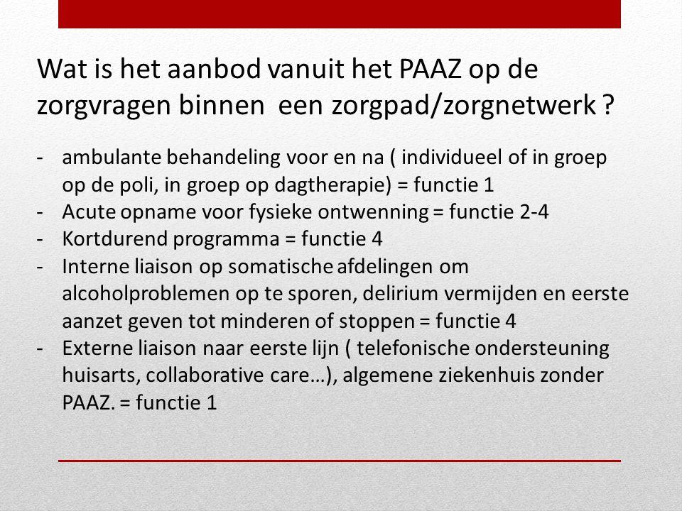 Wat is het aanbod vanuit het PAAZ op de zorgvragen binnen een zorgpad/zorgnetwerk