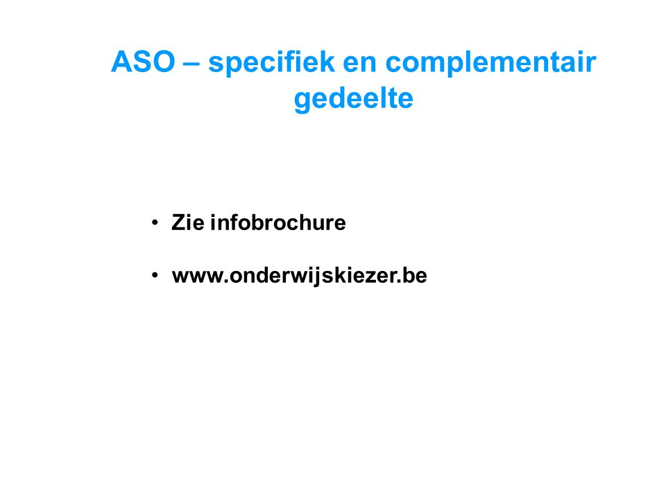 ASO – specifiek en complementair gedeelte