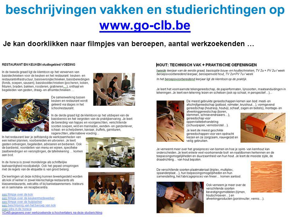 beschrijvingen vakken en studierichtingen op www.go-clb.be