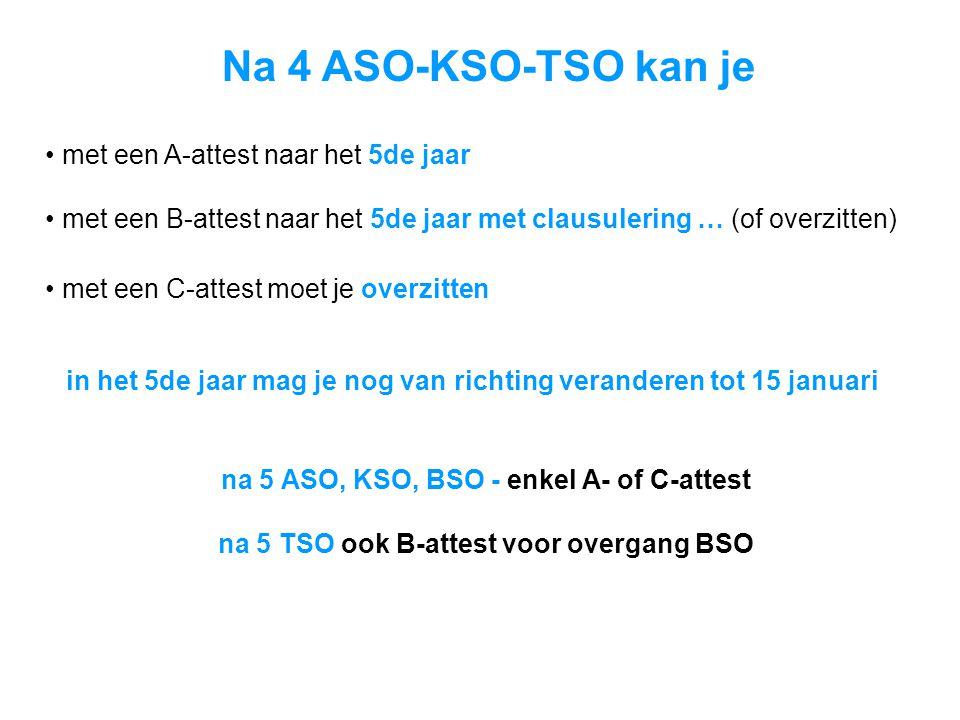 Na 4 ASO-KSO-TSO kan je met een A-attest naar het 5de jaar