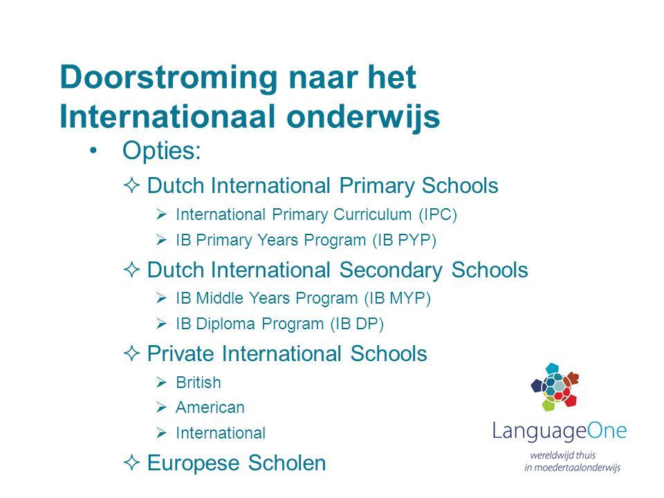 Doorstroming naar het Internationaal onderwijs