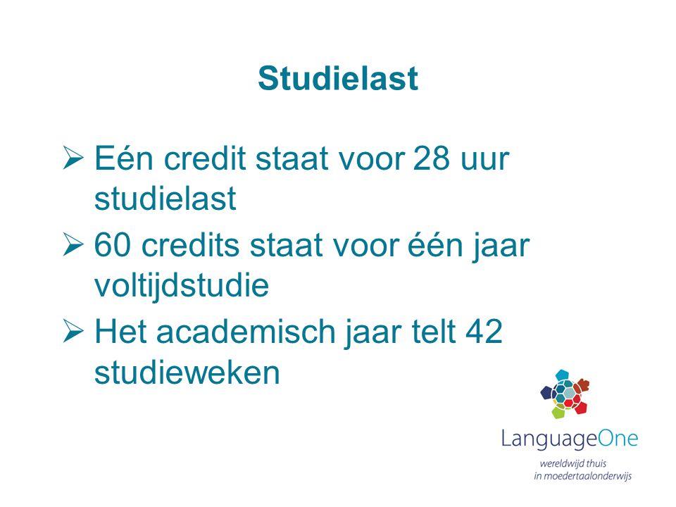Studielast Eén credit staat voor 28 uur studielast. 60 credits staat voor één jaar voltijdstudie.