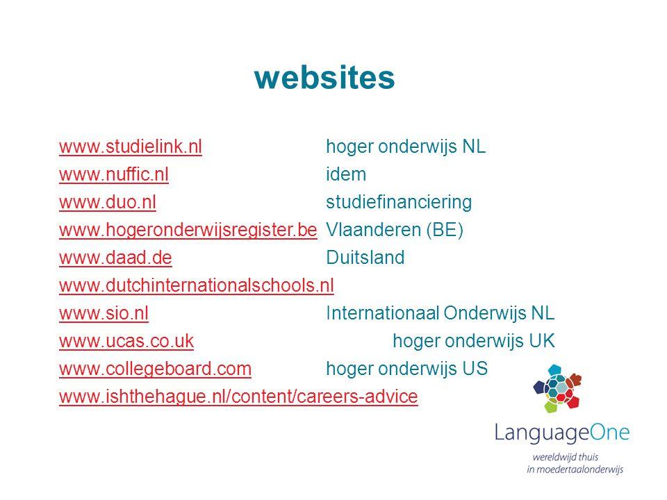 websites www.studielink.nl hoger onderwijs NL www.nuffic.nl idem