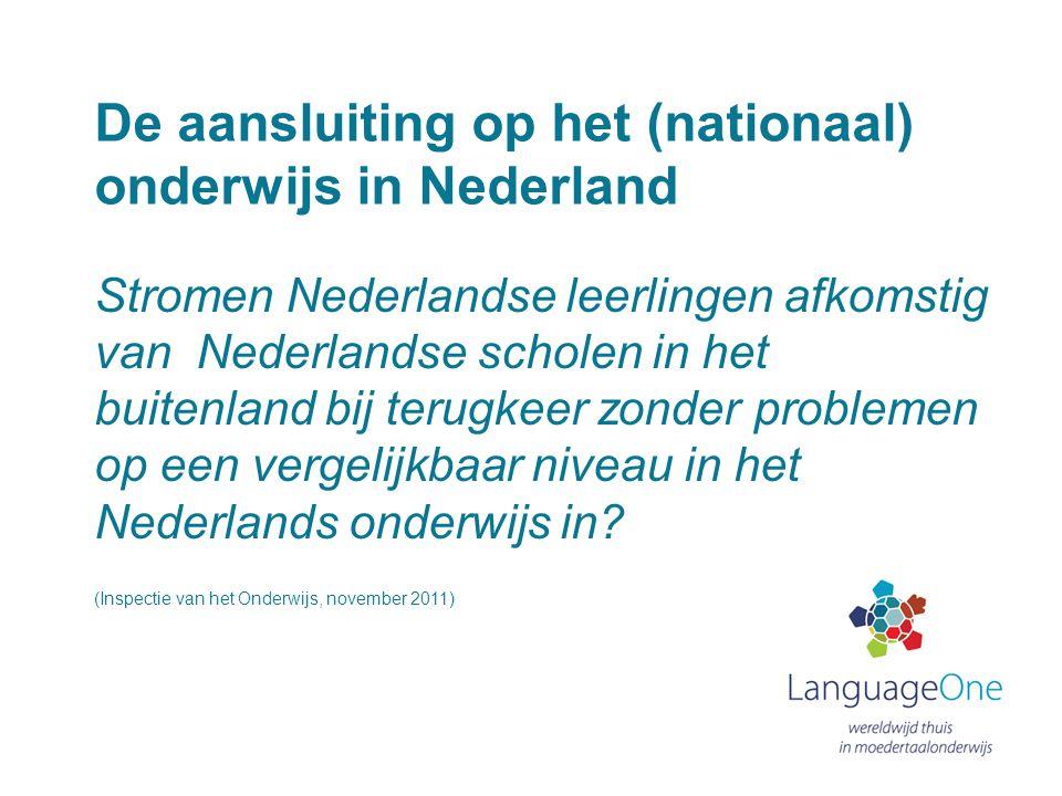 De aansluiting op het (nationaal) onderwijs in Nederland
