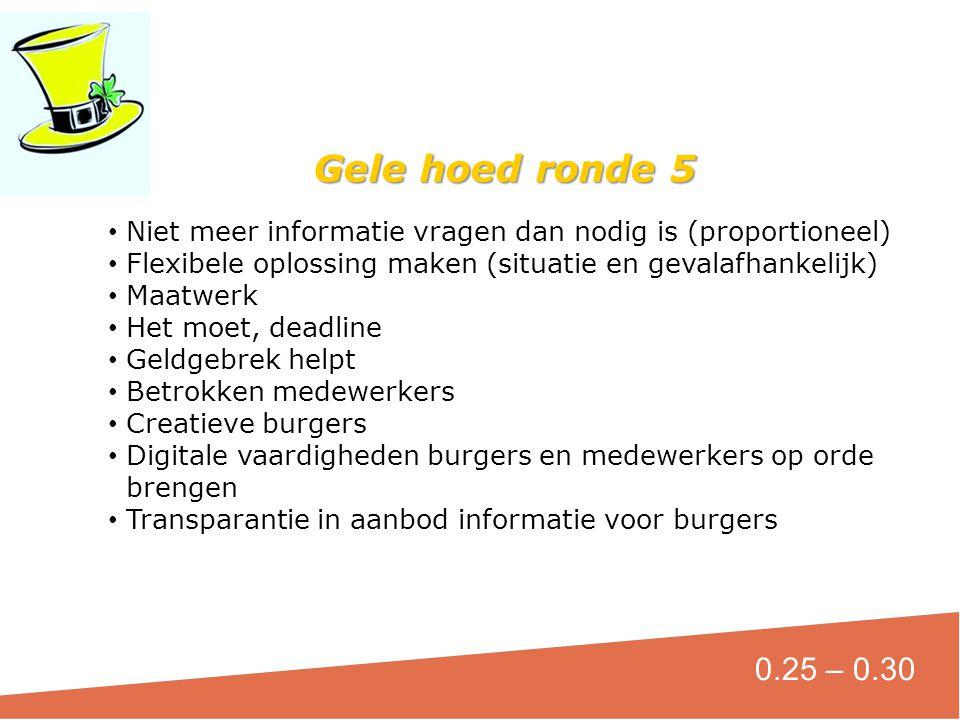 Gele hoed ronde 5 Niet meer informatie vragen dan nodig is (proportioneel) Flexibele oplossing maken (situatie en gevalafhankelijk)