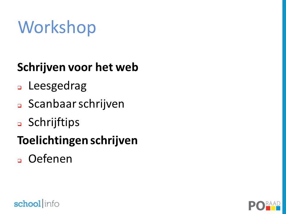 Workshop Schrijven voor het web Leesgedrag Scanbaar schrijven