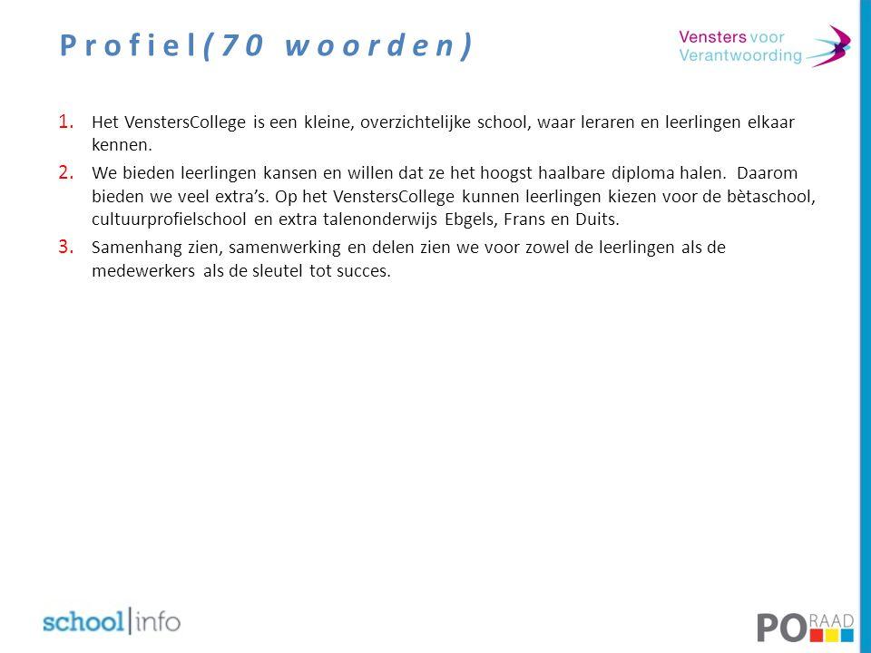 Profiel(70 woorden) Het VenstersCollege is een kleine, overzichtelijke school, waar leraren en leerlingen elkaar kennen.