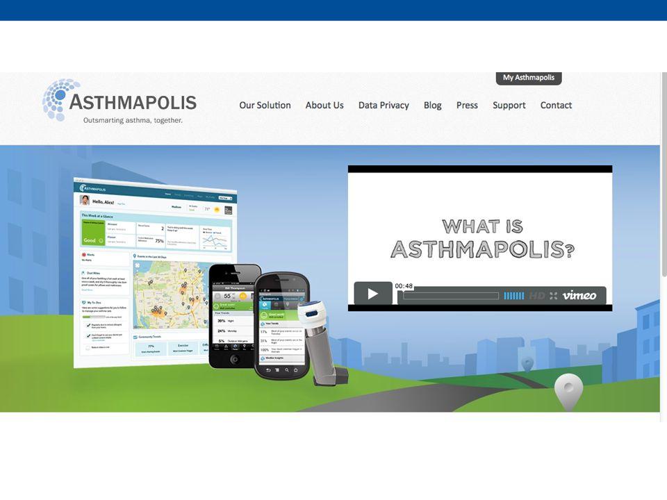 En dit is Asthmapolis: een combinatie van een sensor op de inhaler die bijhoud waar, wanneer iemand een pufje neemt zodat de patient weet hoe goed hij zijn ziekte onder controle heeft maar ook waar anderen veel pufjes nodig hadden: dus waar de luchtkwaliteit slecht is.