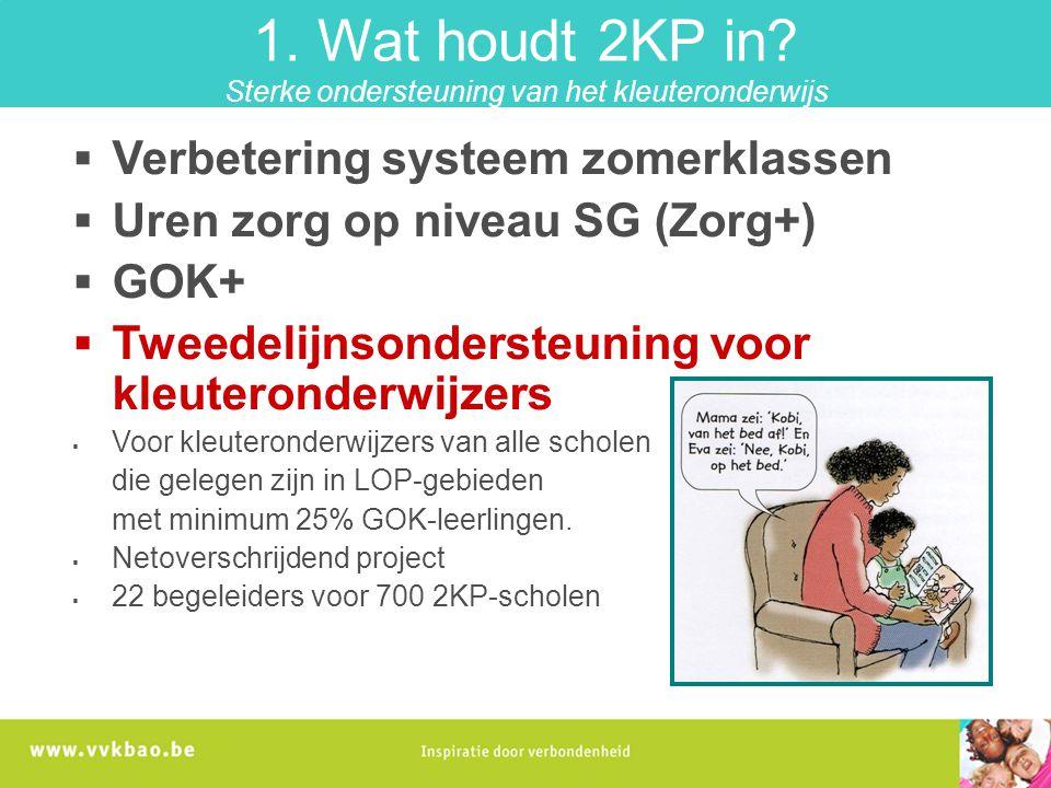 1. Wat houdt 2KP in Sterke ondersteuning van het kleuteronderwijs