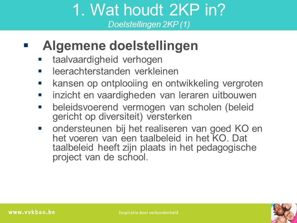 1. Wat houdt 2KP in Doelstellingen 2KP (1)