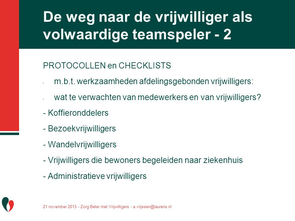 De weg naar de vrijwilliger als volwaardige teamspeler - 2