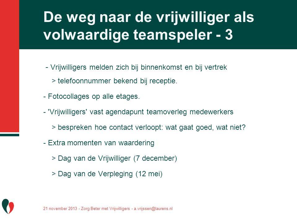 De weg naar de vrijwilliger als volwaardige teamspeler - 3
