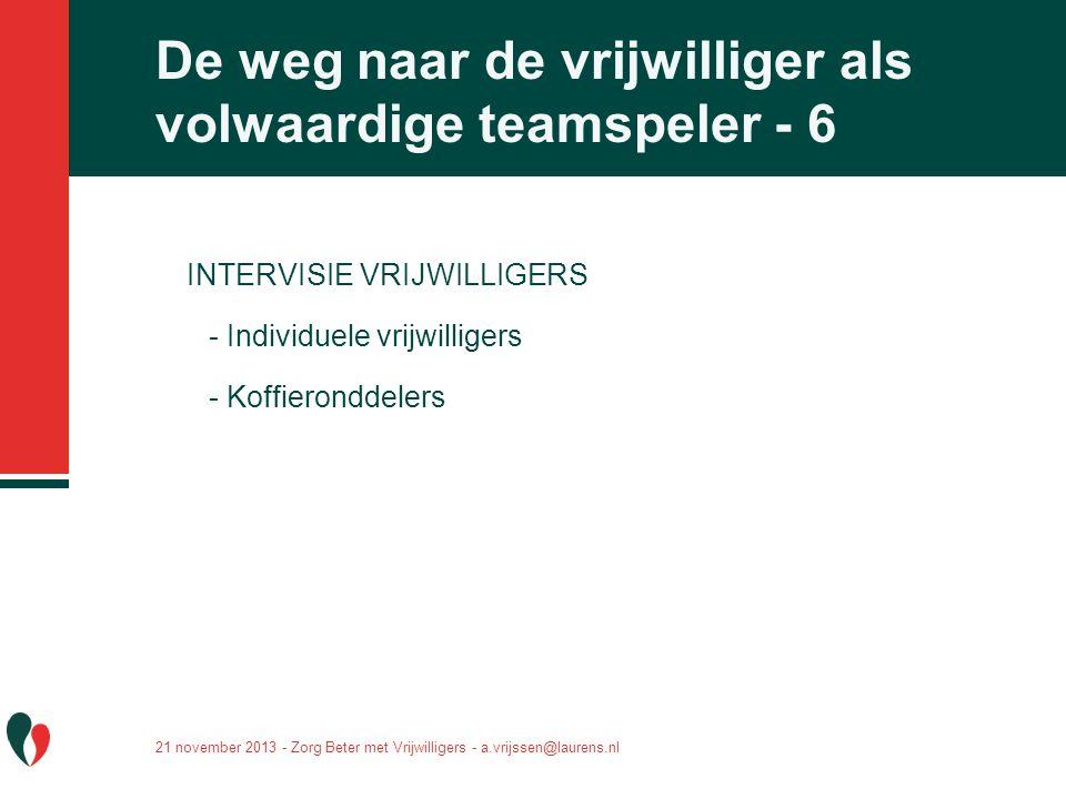 De weg naar de vrijwilliger als volwaardige teamspeler - 6