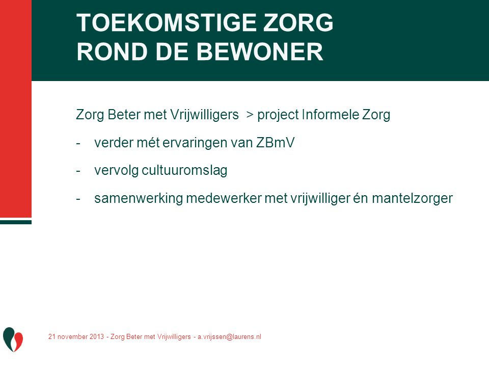 TOEKOMSTIGE ZORG ROND DE BEWONER