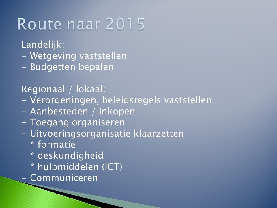 Route naar 2015 Landelijk: Wetgeving vaststellen Budgetten bepalen