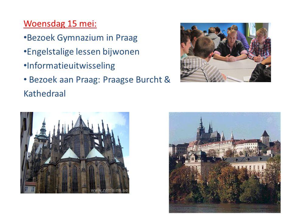 Woensdag 15 mei: Bezoek Gymnazium in Praag. Engelstalige lessen bijwonen. Informatieuitwisseling.