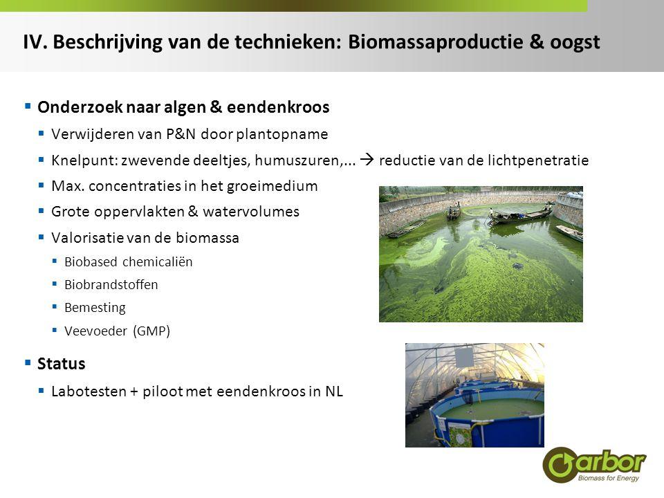 IV. Beschrijving van de technieken: Biomassaproductie & oogst